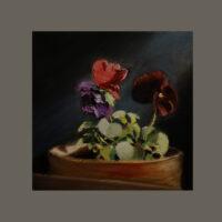 flowers 10×10 oil on canvas 2019 w neutral border
