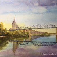 The Bridge to Downtown, Nashville 11″×14″