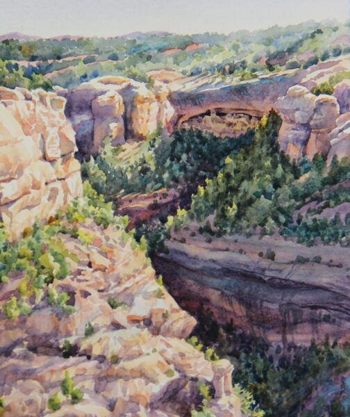 2017 Cliff Palace from Sun Point Viewpoint (plein air; cropped image), watercolor, 7.75×9.5