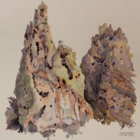 2018 Tent Rocks (Tuff no.3) (plein air), watercolor, 7.5×8