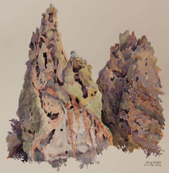 2018 Tent Rocks (Tuff no.3) (plein air), watercolor, 7.5×8