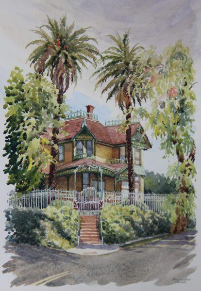 2021 Beach-Timkin House, plein air watercolor, 8.5×12