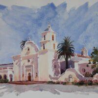 2021 Plein Air Sketch, Mission San Luis Rey, plein air watercolor, 8×6